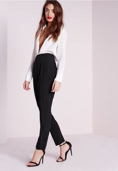 High Waisted Cigarette Trousers Black - Missguided