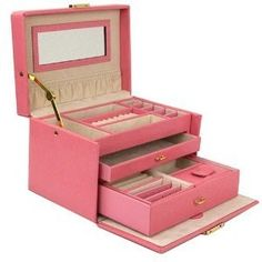 Jewelry Box Genuine Leather Pink Large With Travel Case by Tech Swiss: Watches
