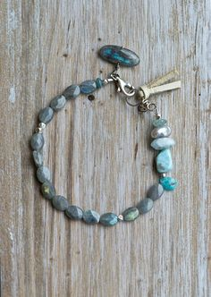 Big River Bracelet: Raw Stone Bracelet, Aquamarine, Pearl, Larimar, Labradorite, Silver Bracelet,  Rustic Gemstone Bracelet, Boho Bracelet