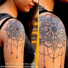 Shoulder Mandala Tattoo Designs For Women Mandala Tattoo Design, Flower Mandala Tattoo, Lace Tattoo, Mandala Art, Lotus Mandala, Tattoo Black, Henna Mandala, Shoulder Cap Tattoo, Shoulder Tattoos For Women