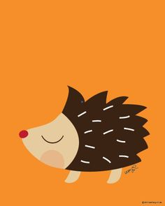 Baby Porcupine Poster : Modern Animal by SealAndFriends on Etsy