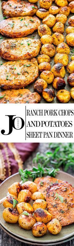 Ranch Pork Chops and Potatoes Sheet Pan Dinner Recipe via Jo Cooks - get out your sheet pan to make this delicious and easy dinner with ranch pork chops and potatoes! The BEST Sheet Pan Suppers Recipes - Easy and Quick Family Lunch and Simple Dinner Meal Pork Chops And Potatoes, Roasted Potatoes, Oven Pork Chops, Meals With Pork Chops, Recipes Using Pork Chops, Whole 30 Potatoes, Best Baked Pork Chops, Paleo Pork Chops, Meat Recipes
