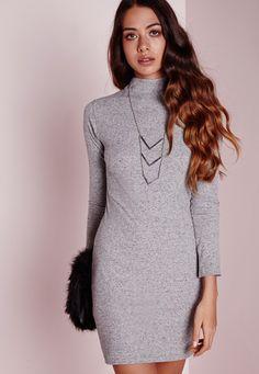 Missguided - Robe moulante gris chiné manches longues et col montant