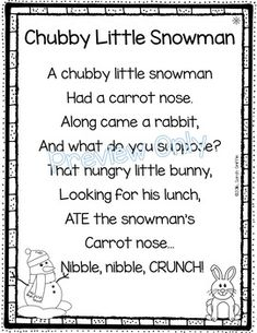 Chubby Little Snowman - Winter Poem for Kids