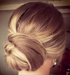 Classic updo=> Great look for blondes, simple braid and twist to low bun. Holiday party look to wedding look. #updos #braids #ellablissbeautybar