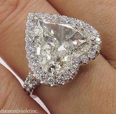 GIA 5.20ct Estate Vintage Heart Diamond Halo Engagement Wedding Platinum Ring #diamondhaloring