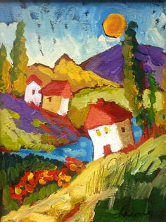 Tuscan Trio Folk Art Landscape Painting on Canvas by by Rose Lanoue $175.00
