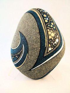 Zen Arte pintado Rock turquesa oro y plata firman por IshiGallery