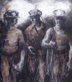 Valerie Ganz - Trio of miners #wales #mining #art #welshart #coal