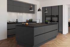 Handleless Kitchen, Kitchen Cabinetry, Kitchen Flooring, Kitchen Backsplash, Cabinets, Black Kitchens, Luxury Kitchens, Cool Kitchens, Kitchen Black