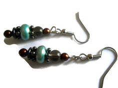 Seafoam Green Pearl Earrings Bohemian Chocolate by chicagolandia, $19.00