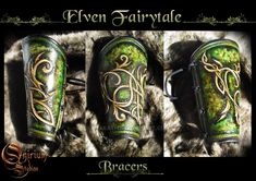 Elven Fairytale - Vambraces / bracers (FOR SALE) by Deakath on DeviantArt Dragon Artwork, Leather Armor, Medieval Fantasy, Leather Working, Online Art Gallery, Baroque, Fairytale, Vikings, Creations