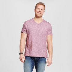 Men's Big & Tall V-Neck Jersey T-Shirt Red 2XB Tall - Merona