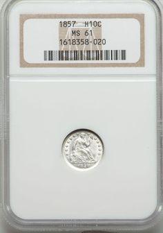 1857 Seated Liberty Half Dime NGC MS61 Very Nice Example | eBay