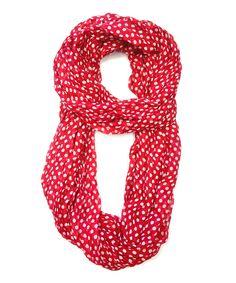 Red & White Polka Dot Infinity Scarf