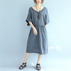 Vintage Cotton Pocket Strap Women Loose Light Gray And Yellow Dress