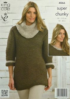 d57ebb27d5c6 Ladies Long Sleeve Round Neck Easy Knit Jumper Dress with optional Cowl  Collar Super Chunky (Super Bulky) King Cole