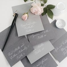 Simple shades of grey ✒️ {pen, nib, white ink all from our starter kit available at lhcalligraphy.com} #wedding #calligraphy #escortcards cc: @evoke_dc @jeannettetav