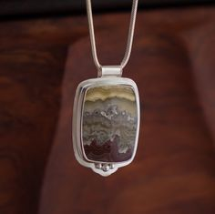 Stormy Seas  Agate and Sterling Silver Pendant by JensSilverworks