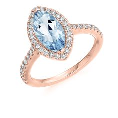 2.00ct Marquis Cut Aquamarine & Diamond Ring | Reppin & Jones Jewellers