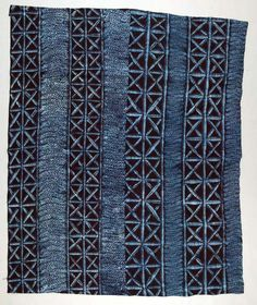 Africa | Woman's wrapper ~ adire ~ from the Yoruba people of Nigeria | ca. 1970 | Cotton; stencil resist indigo dyed