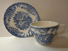 1d1bb3831efb Details about Churchill Brook Pattern Coffee Cup and Saucer Set Myott  Factory made Columbia