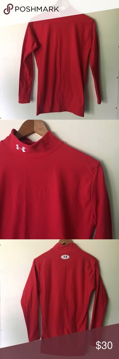 Under Armour // Thermal Fit Long Sleeve Turtleneck Stay warm in this thermal turtleneck from Under Armour. Tight fitted shape that stretches to fit most sizes. Bright red outside and lined inside. Mock neck turtleneck. In excellent condition. Under Armour Shirts Tees - Long Sleeve