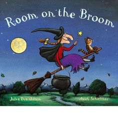 The witch and her cat fly happily through the sky on their broomstick, picking up passengers as they go. Is there really room on the broom for so many friends