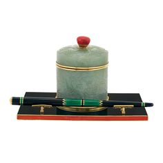 Art Deco Gold, Carved Jade and Enamel Ink Well and Writing Instrument