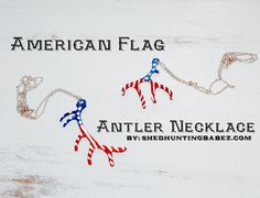 American Flag Antler Necklace  Deer Antler Necklace  elk antler necklace by shedhuntingbabez