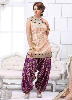 Statuesque Peach & Purple Dupion Silk Punjabi Suit