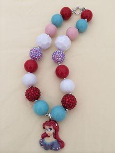 Princess Ariel Bubblegum Bead Necklace by CraftyCreationsByLB, $17.00