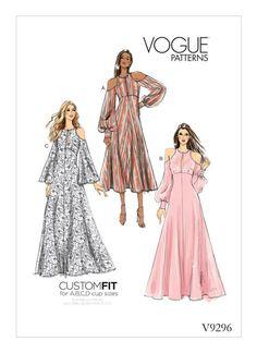 Vogue Sewing Patterns 9296 Misses Dress Close-fitting dresses have cold shoulder detail, front slit, and sleeve and length variations. Vogue Dress Patterns, Vogue Sewing Patterns, Clothing Patterns, Maxi Dress Patterns, Trendy Dresses, Fashion Dresses, Illustration Mode, Miss Dress, Vintage Mode