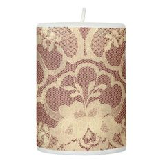 Lace Faux Gold Sepia Floral Amethyst Burgundy Red Pillar Candle - lace gifts style diy unique special ideas