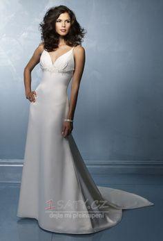 Bezzadu+Jednoduchý+Říše+pasu+Hluboký+výstřih+do+V+Svatební+šaty