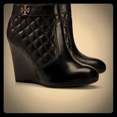 Tory Burch quilted wedge booties Excellent condition black leather Tory Burch booties in 6.5. I do not trade. Tory Burch Shoes Ankle Boots & Booties