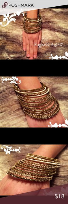 """Boho Tribal Gold Bangle Bracelet Set This stunning set of gold bronzed bangles includes a variety of designs. Comes with 15 bangle bracelets. Measures 3"""" across. Why not do the smart thing and bundle this listing with another from my closet to get a decent discount, Plus you'll save on shipping too! 🎉WINNING at life!🎉 Jewelry Bracelets"""