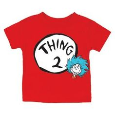 Dr. Seuss Thing Two Short Sleeve T-Shirt, 12 Months by Bumkins. $14.95. Features Thing Two from the ever popular Cat in the Hat. These bright and fun T-shirts are screen printed with classic Dr. Seuss artwork.. Made of 100% cotton.. Collect all 5 designs!. These adorable t-shirts are brand new and feature Thing 2 from Cat in the Hat.  Perfect for baby number two!