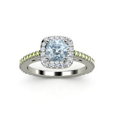 Cushion Aquamarine 14K White Gold Ring with Diamond & Peridot - Olivia Ring (6mm gem) | Gemvara