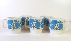 Vintage blue floral ceramic Mugs Cups // by dirtybirdiesvintage, $18.00