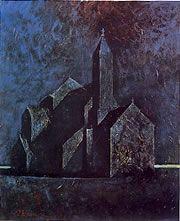 鴨居玲 -鴨居玲《教会》 1970年 油彩