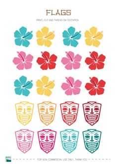Free Hawaiian party printable tags (more than shown here)