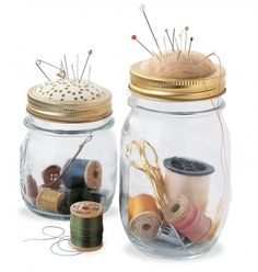 With just a little retrofitting, an old-fashioned Mason jar can become a new sewing kit with a built-in pincushion on top.