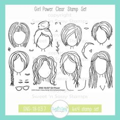 Girl Power Clear Stamp Set - Sweet 'n Sassy Stamps Drawing Tips, Drawing Sketches, Sketching, Drawing Hair, M48, Hair Sketch, Sassy Girl, Hair Reference, Illustrated Faith