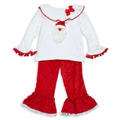 Swoon! Love this White Santa Red Minky Ruffle Pant Set I discovered at lollywollydoodle.com and for only $48! Click the image above to get a $5 off coupon code for your next order!