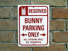 Bunny Rabbit Sign Bunny Area Aluminum Sign by AuthenticSigns