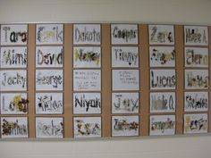 Name wall made by the children with natural materials ≈ ≈