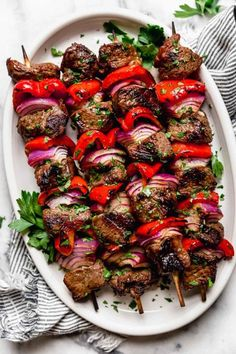 Grilled Steak Kebabs | Sometimes simple is the best way to go! Take these Grilled Steak Kebabs, for example. Just steak, onions, and peppers a 5-ingredient marinade (6 if you count black pepper!) are all you need. They can be prepped ahead to be grilled when you're ready or made for an easy reheat and meat later in the week.|| The Real Food Dietitians