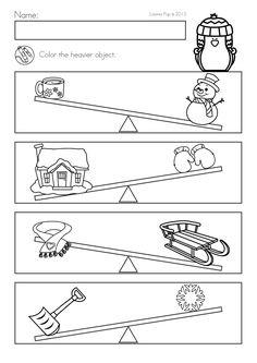 Winter Math Worksheets & Activities No Prep for Kindergarten. Color the object that is heavier. Measurement Kindergarten, Numbers Kindergarten, Kindergarten Math Worksheets, Worksheets For Kids, Maths, Preschool Writing, Preschool Learning Activities, Educational Activities, Abc School