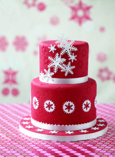 Beautiful red Christmas cake with white snowflakes